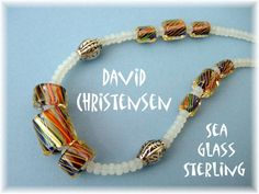 David Christensen   Kaleidoscope Art Glass And Ghostly White Sea Glass Sterling Silver Necklace with Moving Beads $99  CLICK TWICE TO BUY THIS BEAUTY