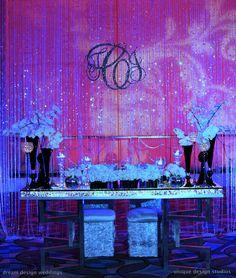 sweetheart table, wedding table, Tiffany Nieves-Cook Events: Sweetheart Table Inspiration **can see bottom of dress ; Platinum Wedding, Purple Wedding, Dream Wedding, Bling Wedding, Glamorous Wedding, Monogram Wedding, Monogram Initials, Crystal Curtains, Barn Wedding Decorations