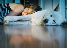 """Hibernation,"" A Girl and her Dog by fragile.alice / Kate Van Brocklin"