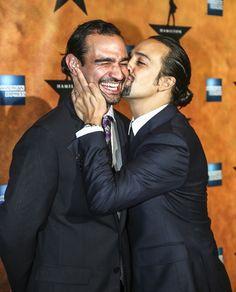 HAMILTON's Lin-Manuel Miranda gives his standby Javier Munoz an opening night smooch! #pinoftheday