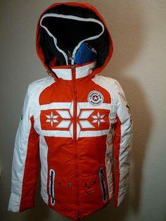 Elegante Damen Skijacke Polar von Mountain Spirit in rot/weiß Pose, Elegant, Motorcycle Jacket, Jackets, Fashion, Snowboarding Jackets, Sport Clothing, Women's, Classy