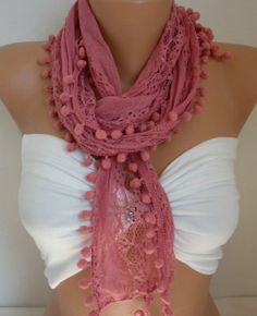 Free  Shipping  Lace Scarf  Pompom Scarf  Cowl Scarf  by ScarfAge,
