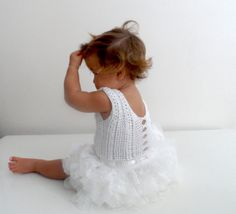 White lace and tulle Baby Tutu Dress. Baby dress with Lace Stretch Crochet Bodice.