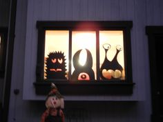Here's the Halloween windows at nighttime.