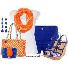 """Blue & Orange"" by amo-iste on Polyvore"