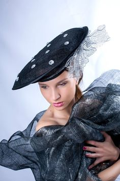 Black silver derby hat by Irina Sardareva Couture Millinery