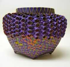 Love the colors on this paper basket by Polly Allen via Contemporary Basketry