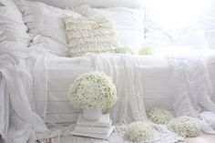 Beautiful White Shabby Bedroom by {White and Shabby} #VintageStorehouseStyle #ShabbyBedroom
