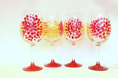 Starburst wine glass painted wine glasses fall by Brusheswithaview