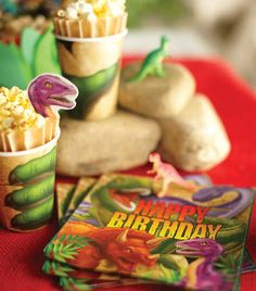 Dinosaur Party Supplies - Find more Dinosaur Birthday Party ideas at http://www.birthdayinabox.com/party-ideas/guides.asp?bgs=16
