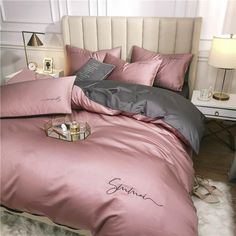 Soft Duvet Covers, Duvet Cover Sets, Cotton Bedding Sets, Cotton Sheets, Cotton Duvet, Fitted Sheets, Cotton Fabric, Chic Bedding, Decorating Rooms