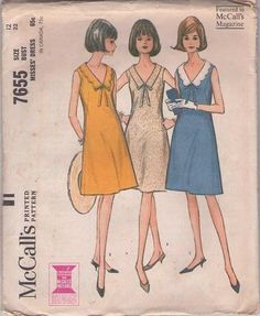 MOMSPatterns Vintage Sewing Patterns - McCall's 7655 Vintage 60's Sewing Pattern PRISSY Easy to Sew Daytime Mad Men Secretary Dress, V Neck,...