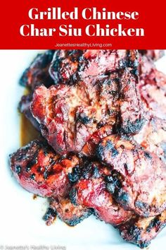 Grilled Chinese Char Siu Chicken Recipe - Jeanette's Healthy Living - Grilled Chinese Char Siu Chicken – this marinade is phenomenal! No artificial colors in this recipe – brilliant red beet powder stands in for red food coloring ~ jeanetteshealthyl… Char Siu Chicken, Chinese Chicken, Chinese Food, White Chicken, Grilled Chicken Recipes, Grilled Meat, Grilling Recipes, Cooking Recipes, Hibachi Recipes
