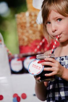 CARNIVAL drinks in mason jars with red and white striped straws. I would probably use something other than coke.