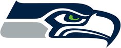 Seattle Seahawks Primary Logo (2012) - Hawk head with green eye in navy blue and silver