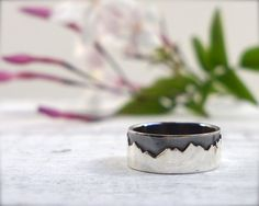 Modern rustic mens band. Sterling silver mens ring. by ForestBook, $95.00
