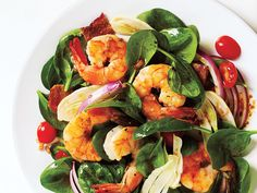 Clean Eating- Red grape tomatoes add pops of color to this fresh spinach salad with shrimp. Add Fennel and Spinach Salad with Shrimp and Balsamic Vinaigrette to your weeknight menu when you need something quick, fresh and light. Cooking Light Recipes, Clean Eating Recipes, Healthy Eating, Eating Clean, Cooking Tips, Spinach Recipes, Salad Recipes, Healthy Recipes, Weeknight Recipes