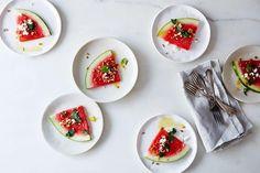 Watermelon with Preserved Lemon Vinaigrette Recipe on recipe on - Collo Fruit Recipes, Summer Recipes, Watermelon Recipes, Lemon Recipes, Salad Recipes, Lemon Vinaigrette, Grilled Watermelon, Dessert, Feta