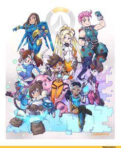 Overwatch,Blizzard,Blizzard Entertainment,фэндомы,Overwatch art,Pharah,Mercy (Overwatch),Zarya,D.Va,Tracer,Widowmaker,Mei (Overwatch),Symmetra,しょうた