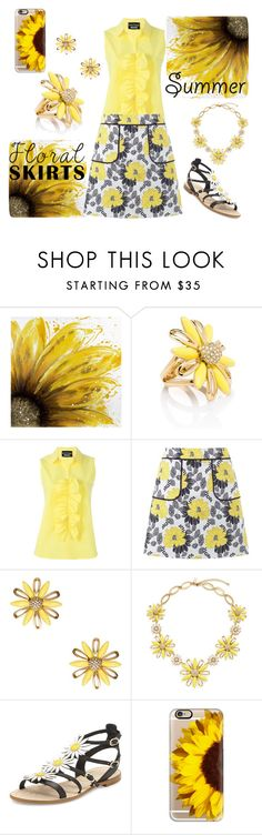 """Sunflowers and Daisies"" by sabrepinkt ❤ liked on Polyvore featuring Dot & Bo, Kate Spade, Boutique Moschino, Miss Selfridge, Casetify and Floralskirts"