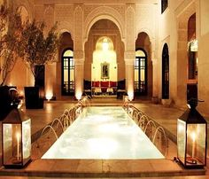 Riad Fes riad in Fez offers deluxe accommodation and a convenient location to explore the city. Enjoy all Riad Fes has to offer, book today! Modern Moroccan Decor, Moroccan Interiors, Moroccan Design, Moroccan Lounge, Moroccan Room, Deco Interiors, Arabesque, Morrocan Architecture, Islamic Architecture