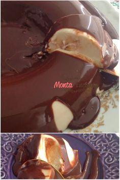 pudim de coco sem forno com calda de ganache de chocolate - Esse pudim encanta pelo sabor delicioso e pela praticidade de não precisar ir ao forno. A ganache é um toque a mais, um charme indispensável…