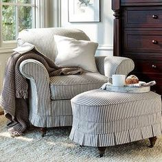 Pinstripe chair and ottoman slipcover Armchair Slipcover, Upholstered Furniture, Chair And Ottoman, Slipcovers, Cozy Chair, Oval Ottoman, Comfy Armchair, Ottoman Cover, Big Chair