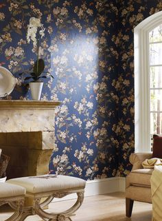Carefully inspect and examine your wallpaper before beginning your project. First Quality, New, Unpasted, Washable Wallpaper. The Wallpaper Co. Washable Wallpaper, Gray Background, Designer Wallpaper, Floral Watercolor, York Wallcovering, Room, Walls, Textiles, Colors