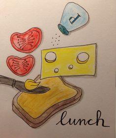 8 maart Fineliner en aquarelpotlood   Sandwich cheese tomato