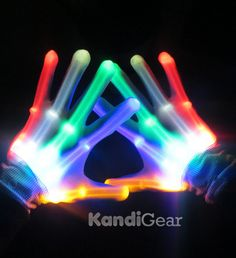 LED gloves light up gloves for Raves by KandiGearOfficial on Etsy