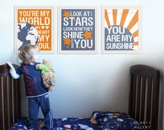 Kids wall art Song Lyric prints for nursery and by Wallfry on Etsy, $57.00