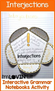 Interjections Interactive Notebook Activity, Foldable, Organizer, Lesson