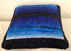 Overstuffed blue quilted pillow. Accent pillow. by AnnBrauer. Modern home decor.