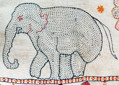 Kantha elephant quilt,probably made in West Bengal, India, circa Purchase made possible through the James Foundation Acquisition. Sashiko Embroidery, Japanese Embroidery, Hand Embroidery Designs, Embroidery Applique, Embroidery Patterns, Kantha Quilt, Elephant Quilt, Art Tribal, Kantha Stitch