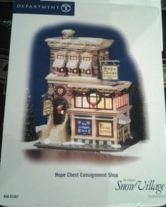 "NIB SEALED Dept. 56 The Original Snow Village ""Hope Chest Consignment Shop"" Department 56 Christmas Village, Dept 56 Snow Village, Dickens Village, Consignment Shops, Christmas Villages, Hope Chest, Shopping, Ideas, Thoughts"