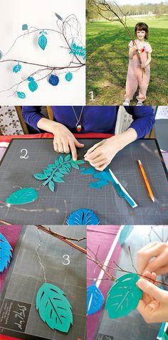 Diy : des branches décorées de papier découpé