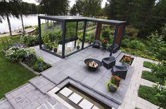 Pretty much perfect. Vege Garden Design, Raised Bed Garden Design, Backyard Greenhouse, Backyard Patio, Outdoor Rooms, Outdoor Gardens, Glass Green House, Underground Greenhouse, Pergola