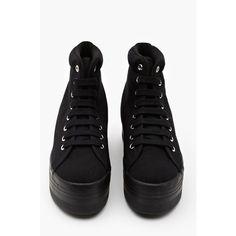 Homg Platform Sneaker - Black ($78) via Polyvore