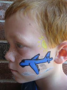 DIY Airplane Face Paint #DIY #FacePainting #CheekArt #Airplanes #Birthdays #Birthday #Party #Parties