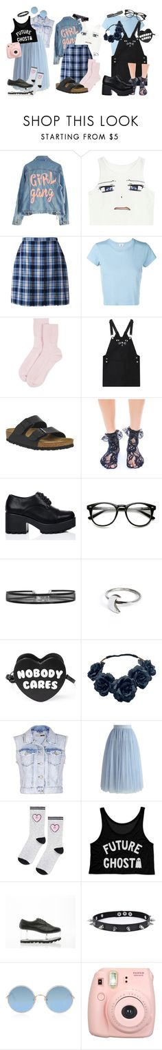 """Untitled #172"" by fluffy-kitty ❤ liked on Polyvore featuring High Heels Suicide, Lands' End, RE/DONE, Johnstons of Elgin, Birkenstock, Leg Avenue, Holly Ryan, Killstar, Topshop and Chicwish"