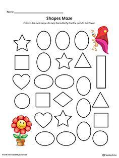 Oval Shape Maze Printable Worksheet (Color) Worksheet.Practice recognizing the Oval geometric shape by completing the maze in this printable worksheet.