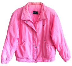 vintage mens womens Current Seen hot pink puffy 80s ski jacket perfect condition zips and buttons size large tons of pockets and details by VELVETMETALVINTAGE on Etsy