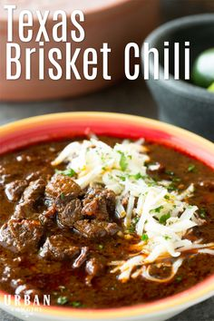A Tried and True recipe for authentic Texas Beef Brisket Chili with NO BEANS. Get this award winning to impress or win a Chili Cookoff of your own! Beanless Chili Recipe, Best Chili Recipe, Chilli Recipes, Mexican Food Recipes, Beef Recipes, Soup Recipes, Cooking Recipes, Gourmet Chili Recipe, Tex Mex Chili Recipe