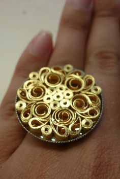 Mandala golden ring. Artisan jewelry ring. Unique gift for real art lovers. Very detailed work