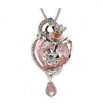 Pretty Pink Flower Glass Ash Pendant Urn