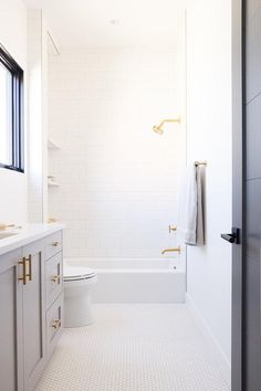 Brushed Gold Shower Head with White Subway Tiles - Transitional - Bathroom - Benjamin Moore Chantilly Lace Gray And White Bathroom, White Shower, Gold Bathroom, Bathroom Kids, Grey Bathrooms, Bathroom Shower Curtains, Bathroom Interior, Gold Shower, Master Bathroom