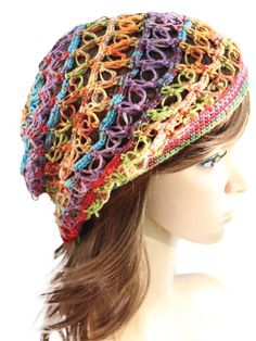 "A perfect hat for any season!   Double love knots and a fine weight yarn give this crochet hat a lacy look. The drape of the microfiber yarn gives a smooth, flowing look, which is great for this style of hat. Instructions are included for child sizes 8–12 years and adult; Circumference is 20"". Sample shown made using 1 skein of Deborah Norville Serenity Garden yarn in color Gems. Available as a PDF download only."