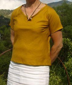 CEFALU giallo curry, una camicia tg. XS per donna di domoras su DaWanda.com