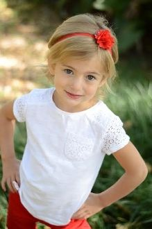 "2.5"" Chiffon and Tulle Clip with Skinny Headband-Red"