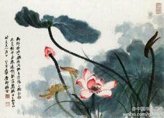 张大千《荷花》欣赏 --- 张大千三十三岁时开始住进北京颐和园,一住就是五年,颐和园池塘中那又肥又大的荷花使他对画荷的兴趣越加浓厚。由于长期与荷花相处,使他特别偏爱荷花。飘逸的荷叶千姿百态,传神的墨色浓淡深浅,张大千笔下的荷花神韵表现得淋漓尽致。